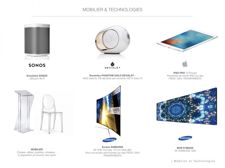 Mobilier et technologies disponibles - Galerie Joseph
