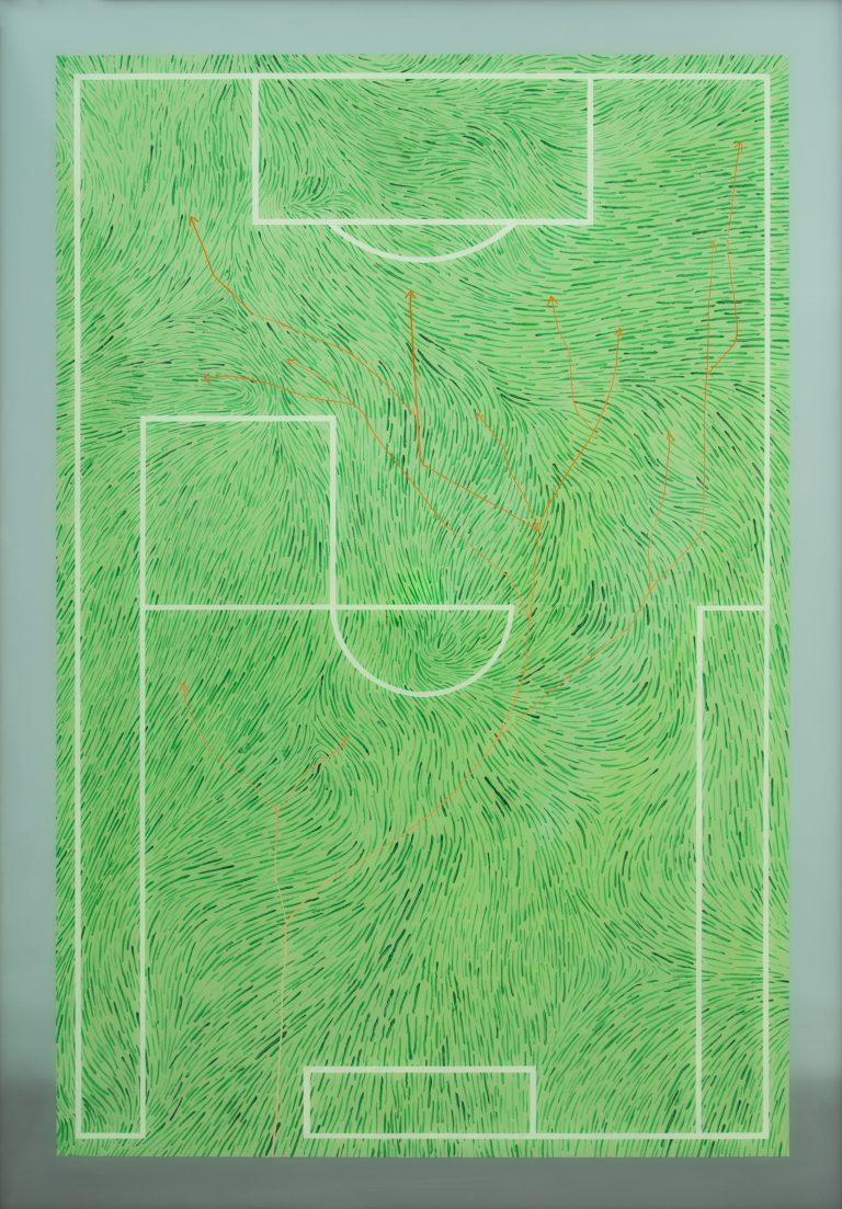Marius Pons de Vincent, Paysage tactique, peinture sur et sous verre, 100x70 cm ©